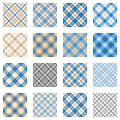 Plaid patterns collection, light blue and beige