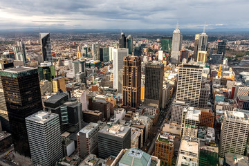 Panoramic view of Melbourne from a high point.