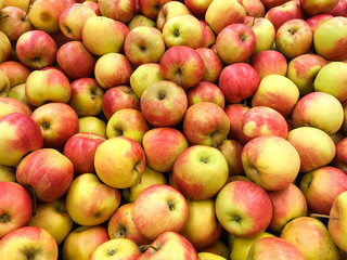 Close Up Of Red Apples In Market Display