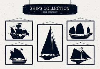 Hand drawn ship silhouettes set on white background in frames
