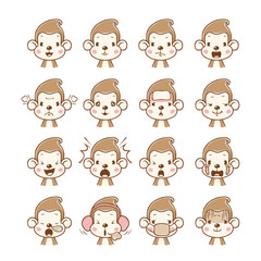 Monkey Emoticons set, Animal, Emoji, Facial Expression, Face, Feeling, Mood, Symbol