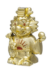 Golden Chinese Dragon statue isolated on the white background
