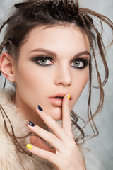 Beautiful young european model  posing in the studio.