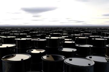 Barrel of oil in desert . concept  illustration
