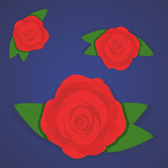 Vector set of beautiful red roses on gradient blue background. Flat style of flowers, design for greeting, wedding, birthday card or textile, fabric, clothes