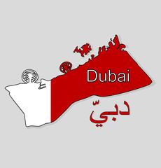 Vector. Map of Dubai. UAE. Map with the background of the flag of the city