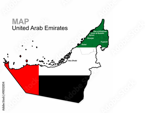 UAE Vector United Arab Emirates Map Divided By Region - Uae map