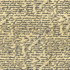 Handwriting seamless pattern. Old Abstract letter. Ancient writi