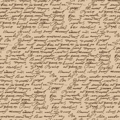 Handwritten text vintage style seamless pattern. Abstract ancien