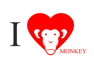I love monkey. Heart symbol in form of head monkey. Chinese new