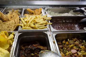 Trays of prepared food on buffet from Nicaragua