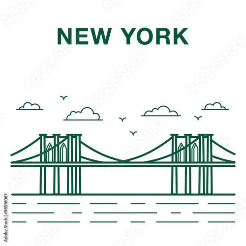 Line Art New York City : Quot brooklyn bridge illustration made in line art style new