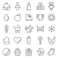 Babies (girl and boy) things outline cute icons vector set. Modern minimalistic design.