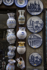 Traditional crafts at a street stall in Spain