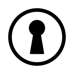 Vintage door keyhole access line art icon for apps and websites