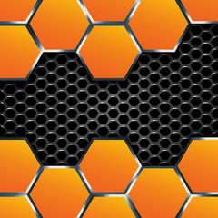 Geometric pattern of hexagons with metal plates.