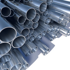 Metal pipes pile 3D industrial background.