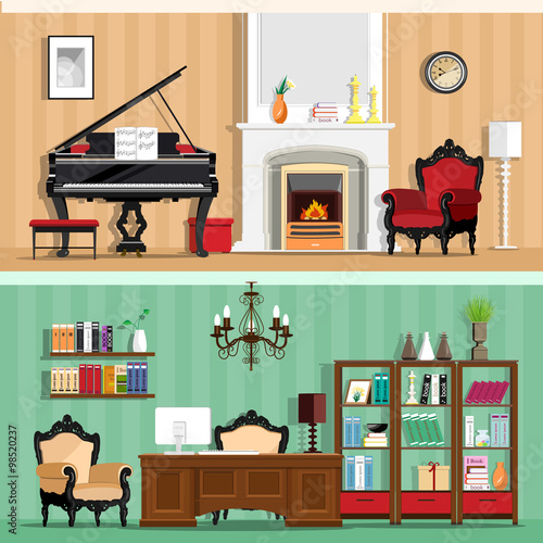 Set Of Colorful Vector Interior Design House Rooms With Furniture Icons Living Room And Home