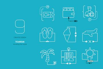Connection flat design tourism