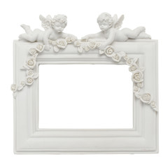 Frame with angels isolated on a white