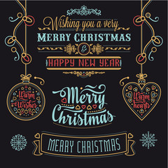 Christmas Lettering Design Set. Decorative elements for winter holidays. Typographic messages. Vintage Christmas Background With Typography. Black and white.