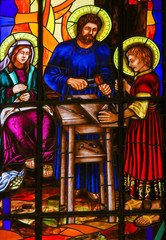 Wall Mural - Stained Glass of the Holy Family in Madrid Cathedral