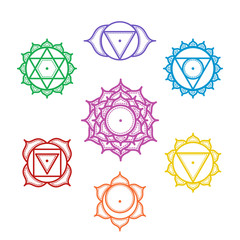 Isolated Set of beautiful indian ornamental 7 chakras.