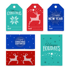 Colorful paper tags and name cards for presents with Happy Holidays, Merry Christmas and Happy New Year lettering. Vector banners. Xmas postcards. Knitted Norwegian elements