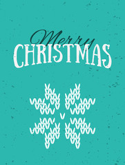 Colorful paper card with Happy Holidays, Merry Christmas and Happy New Year lettering. Christmas calligraphy logo. Vector banner. Xmas postcard. Knitted norwegian elements