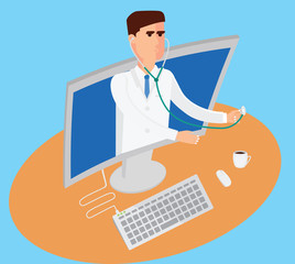 Telemedicine conceptual illustration. Male doctor with stethoscope is getting out from computer.