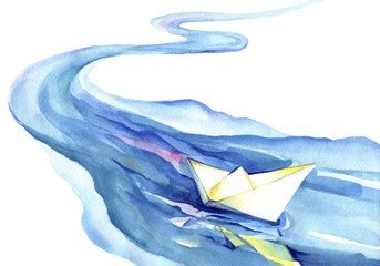 White paper boat floating in the water. Watercolor painting of the river and ship on a white background.