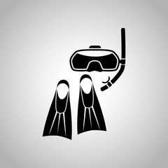 Diving flippers and mask icon
