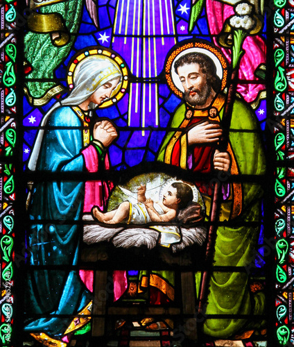 Fototapete Nativity Scene at Christmas in Montserrat Abbey