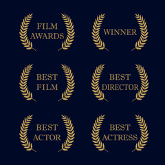 Film awards logo. Film awards and best nominee gold award wreaths on dark background