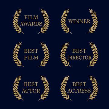 Film awards logo. Film awards and best nominee gold award wreaths on dark background