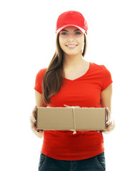 Delivery woman in red uniform holding package isolated on white background
