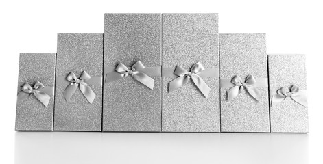 Beautiful silver Christmas gifts  isolated on white background