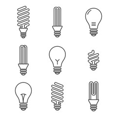 Light bulbs. Bulb icon set. Isolated on white background. Electricity saving concept. Energy icon. Bulb logo. efficiency Lamp