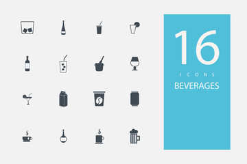 collection of icons in style flat gray color on topic drinks