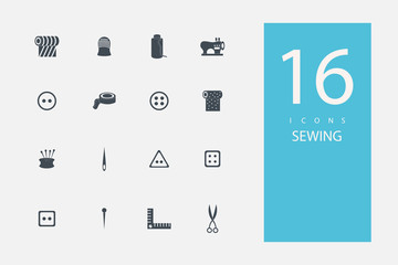collection of icons in style flat gray color on topic sewing