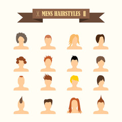 multicolored icons with tape on the topic men's hairstyles