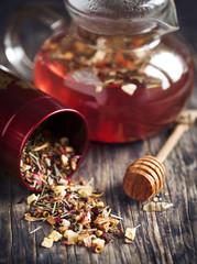 Dragonfruit Herbal Tea. Selective focus
