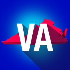 Virginia VA Letters Abbreviation Red 3d State Map Long Shadow