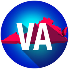 Virginia VA Letters Abbreviation Red 3d State Map Long Shadow Ci