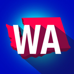 Washington WA Letters Abbreviation Red 3d State Map Long Shadow