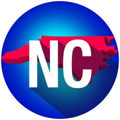 North Carolina NC Letters Abbreviation Red 3d State Map Long Sha