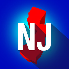 New Jersey NJ Letters Abbreviation Red 3d State Map Long Shadow