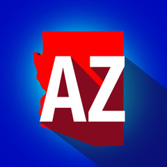 Arizona AZ Letters Abbreviation Red 3d State Map Long Shadow Cir