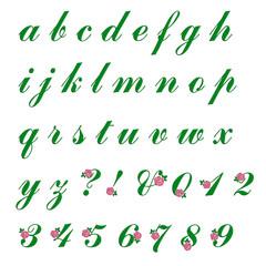 刺繍加工のアルファベット(小文字) バラ