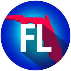 Florida FL Letters Abbreviation Red 3d State Map Long Shadow Cir